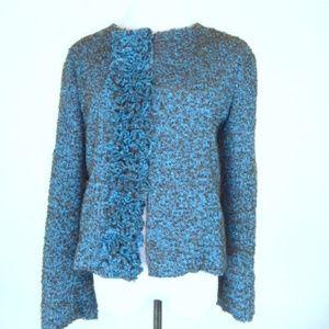 Marni teal wool tweed jacket classic M